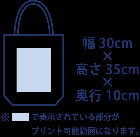 トートバッグのサイズ。幅30cm。高さ35cm。奥行10cm。